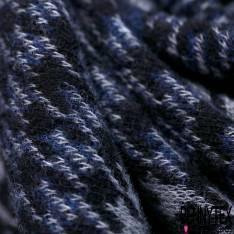 Maille Viscose Polyester Coton Motif Carreaux Pied de Poule Marine Noir Gris