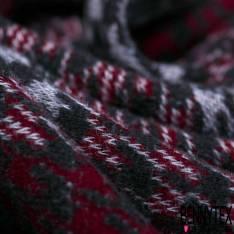 Maille Viscose Polyester Coton Motif Carreaux Pied de Poule Bordeaux Noir Gris