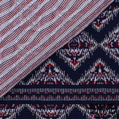 Maille Viscose Polyester Coton Motif Amérindien Rouge Blanc fond Marine