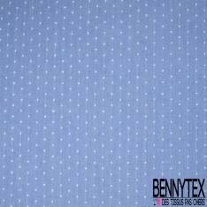 Plumetis De Coton Couleur Bleu Demin