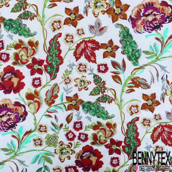 Coton Toile Demi Natté Imprimé Fleur