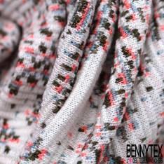Maille Viscose Polyester Coton Motif Fleur Pixel Kaki Ciel Rose fond Vague Ecru