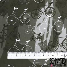 Coton Imprimé Trio de Vélo fond Graphique Kaki