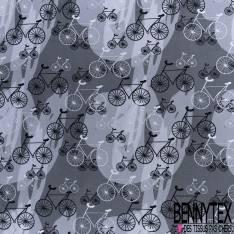 Coton Imprimé Trio de Vélo fond Graphique Gris