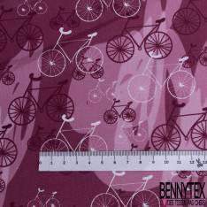 Coton Imprimé Trio de Vélo fond Graphique Framboise