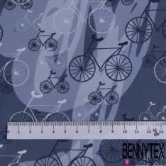 Coton Imprimé Trio de Vélo fond Graphique Indigo