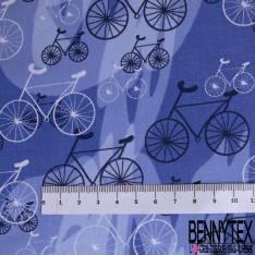 Coton Imprimé Trio de Vélo fond Graphique Bleu Electrique