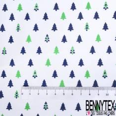 Coton Imprimé Petit Sapin de Noël Marine Vert fond Blanc