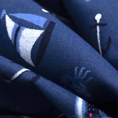 Coton Imprimé Mouette Voilier Ancre Crabe Bleu Marine Blanc fond Indigo