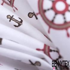 Coton Imprimé Mouette Voilier Ancre Crabe Rouge Sable Choco fond Blanc