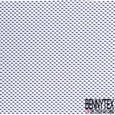 Coton Imprimé Petit Dauphin Marine fond Blanc