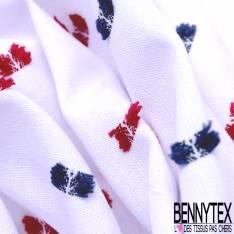 Coton Plumeti Fantaisie Marine Rouge fond Blanc
