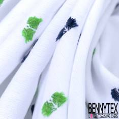 Coton Plumeti Fantaisie Marine Vert fond Blanc