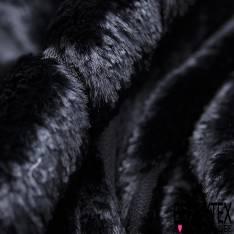 Mousseline Polyester Noir Dévoré Viscose Rayure Verticale Fourrure Noir