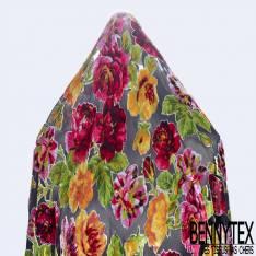 Mousseline Polyester Noir Dévoré Viscose Grosse Fleur Velours Multicolore