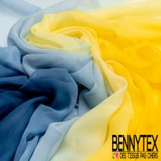 Mousseline de Soie Coloris Tie and Die Jaune Indigo