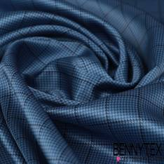 Carré de Satin de Soie N°144: Motif Tartan Pied de Puce Bleu fond Bleu Charron