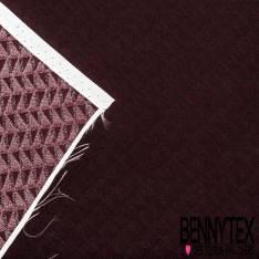 Carré de Satin de Soie N°146: Motif Chevron Bordeaux Pointillé Rouge