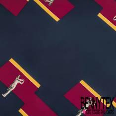 Carré de Satin de Soie N°147: Motif Golfeur fond Géométrique Jaune Rouge Marine