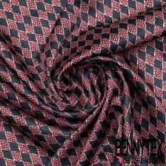 Carré de Satin de Soie N°156: Motif Losange Marine et Rouge Bordeaux Fantaisie