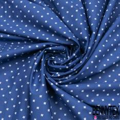 Coton Imprimé Petite Croix Fantaisie Blanche fond Indigo