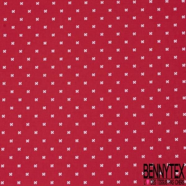 Coton Imprimé Petite Croix Fantaisie Blanche fond Rouge