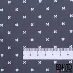 Coton Imprimé Petite Croix Fantaisie Blanche fond Anthracite