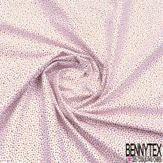 Coton Imprimé Multitude de Feuille Volante Minuscule Choco et Ocre fond Blanc