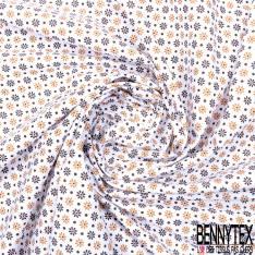 Coton Imprimé Petite Fleur et Pois Ocre Choco fond Blanc