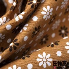Coton Imprimé Petite Fleur et Pois Blanc Choco fond Ocre