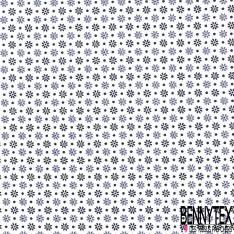 Coton Imprimé Petite Fleur et Pois Gris Noir fond Blanc