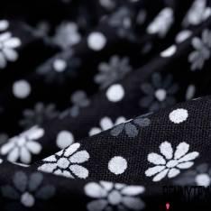 Coton Imprimé Petite Fleur et Pois Blanc Gris fond Noir