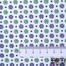 Coton Imprimé Petite Fleur et Pois Marine Vert fond Blanc