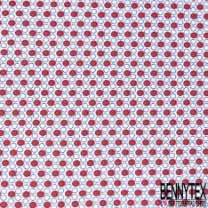 Coton Imprimé Petit Rond Rouge Marine fond Blanc