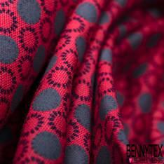 Coton Imprimé Petit Rond Noir Gris fond Rouge