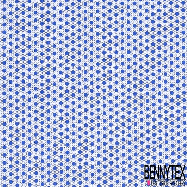 Coton Imprimé Petit Rond Bleu Roi Marine fond Blanc