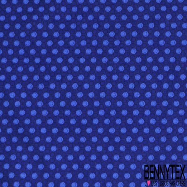 Coton Imprimé Petit Rond Marine Azur fond Bleu Roi
