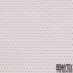 Coton Imprimé Petit Motif Géométrique Bicolore Marine Blanc fond Sable