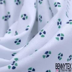 Coton Imprimé Petit Motif Géométrique Bicolore Marine Vert fond Blanc