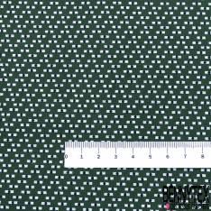 Coton Imprimé Petit Rectangle et Rond Blanc Noir fond Sapin