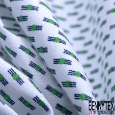 Coton Imprimé Petit Rectangle et Rond Marine Vert fond Blanc