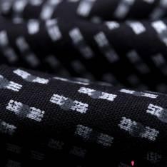 Coton Imprimé Petit Rectangle et Rond Gris Blanc fond Noir