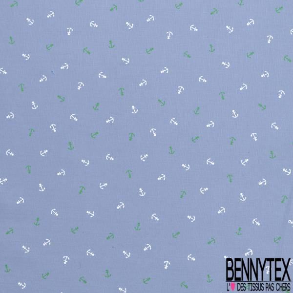 Coton Imprimé Petite Ancre Vert Blanc fond Souris