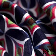 Satin de Coton Elasthanne Motif Ethnique Vintage
