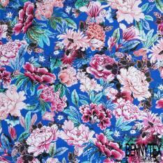 Satin de Coton Elasthanne Motif Grosse Pivoine Rose fond Bleu Lagon