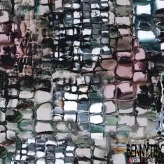 Jersey Viscose Imprimé Marbrure Quadrillée Multicolore