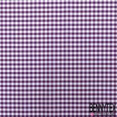 Coton Vichy Prune Blanc
