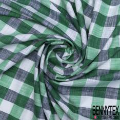 Coton Teint Gros Carreaux Vert Rouge Blanc