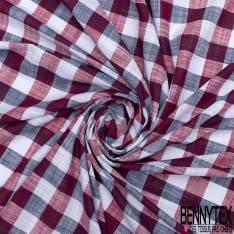 Coton Teint Gros Carreaux Marine Rouge Blanc