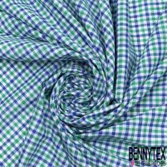 Coton Teint Petit Carreau esprit Nappe Bleu Roi Vert Blanc